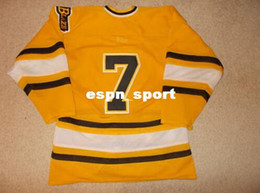 Wholesale Factory Outlet Bursnville Game Worn Used Minnesota High School Hockey Jersey Men s Stitched Throwback Hockey Jersey Yellow M XL