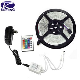Wholesale Diode Power Led - Wholesale-3528 Led Strip RGB Waterproof SMD 300 LEDS diode 5M IP65 tape set + 24 Keys IR Remote Controler + 12V 2A power adapter Discount