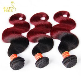 Wholesale Hair Extension Red - 3Pcs Lot Ombre Hair Extensions Brazilian Virgin Hair Body Wave Two Tone 1B 99J Burgundy Wine Red Ombre Brazillian Human Hair Weave Bundles