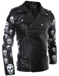 Wholesale Matches Leather Jackets - High quality mens PU coats color matching leather jackets fashion skull printed jacket coat for men