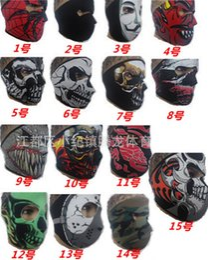 Wholesale Motorcycle Neoprene - Halloween party Skull masks Neoprene Skull Bandana full face mask sking warm Paintball Sport Bike Motorcycle Helmet Neck Face Mask Balaclava
