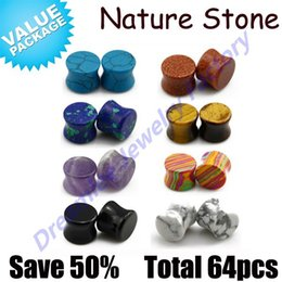 Wholesale double flared gauges - Dreamlee 64pcs lot Nature Stone Double Flared Saddle Upper Ear Plugs Gauges Expander Stretching Piercing Kit Jewelry,Mixed Color
