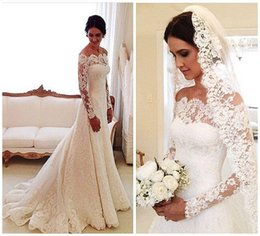 Wholesale Cheap White Church Dresses - Gorgeous Vestidos Wedding Dresses 2016 New off Shoulder Long Sleeves Lace Illusion Church Plus Size Sweep Train Formal Cheap Bridal Dress