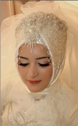 Wholesale Wedding Veil Prices - Muslim Pearls Wedding Veils Tulle Puffy Satin Head Veils New Arrival Cheap Price Wedding Veils Bridal Veils Wedding Accessories Arabia