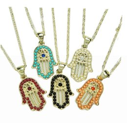 Wholesale Necklace Fatima Hamsa - 24pcs 45+7cm mixed 5 colors Micro Pave Fatima hamsa necklace palm pendant necklace