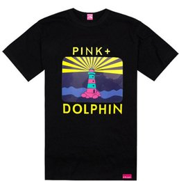 Wholesale Pink Dolphin T Shirts - Rising Sun Sail pink dolphin tshirts famous brand tees streetwear hip hop t-shirt summer hot sale rock clothing cotton,free shipping tee
