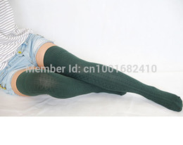 Wholesale Thick Thigh High Socks - Wholesale-New Fashion 2015 Hot Sale Cotton Knit Thigh High Boot Knee Socks Dark Green Cuff Flanging Thick Socks For Womens 17121064