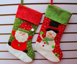Wholesale cartoon hangers - Long Socks Merry Christmas Best Gift Stockings Santa Claus Snowman Christmas Ornament Reindeer Stockings Decorations Hanger