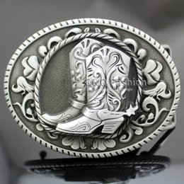 Wholesale Wholesale Men Cowboy Boots - Vintage Silver Western Cowboy Cowgirl Boots Spur Rodeo Belt Buckle Line Dance Jewelry Free Shipping
