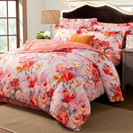 Wholesale Vintage Duvet Queen - Wholesale-Express Shipping Vintage Pink Red Floral Reversible Duvet quilt Cover Sets Yarn-dyed Cotton Adult Girls New Arrival Queen King