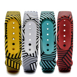 Wholesale Watches Stripes - Mi Band 2 Stripe Printed Replace Strap for Xiaomi Silicone Wristbands for MiBand 2 Bracelet For Xiaomi 2 Strap