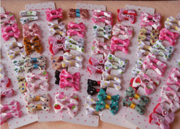 Wholesale small hair accessories - Free shipping Handmade Designer Dogs accessories pet Dog Bows Dog Grooming Hair Bows Doggie Boutiqu