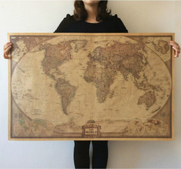 Wholesale Vintage Televisions - 2015 New Vintage Style World Map Wall Paper Archaize Exquisite Kraft Paper Retro Poster Wall Decoration Educational Wall Decal