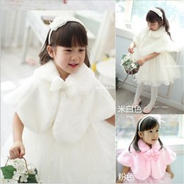 Wholesale Spring Bow Coat - 2015 Autumn and Winter Girls Faux Wool Coat Kids Korean Girl Wedding Dress Short White Pink Cape Jacket Flowers Cloak Coat Kids Poncho