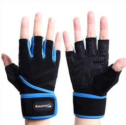 Wholesale Fun Gym - Wholesale-2015 Hot Sell High Quality Half Finger Fitness Gloves Outdoor Fun & Sports Gloves Leather Gloves Gym Gloves Free Shipping