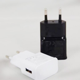 Wholesale White Eu Usb Wall Charger - USB Wall Charger 5V 2A AC Travel Home Charger Adapter US EU Plug for universal smartphone android phone White Black Color
