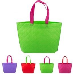 Wholesale Multi Advertising - Promotion Sale!!! Non Woven Shopping Bag Eco-friendly Resuable Handbag Advertising Gift Bag Candy Color Grocery Bags ZD0044
