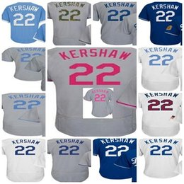 Wholesale Grey Pinstripe - Men Women Youth Toddler 2017 WS Patch Los Angeles 22 Clayton Kershaw Pinstripe Training cool flex baseball Jerseys (XS-6XL)