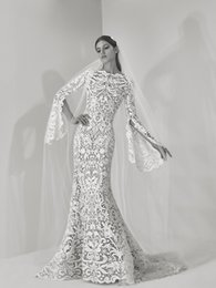 Wholesale Saab Wedding Dresses Sleeve - 2018 Ellie Saab Mermaid Wedding Dresses With Long Sleeve Sweep Train Unique Sleeve Country Wedding Dress Illusion Plus Size Bridal Gown