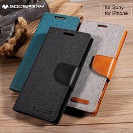 Mercury Goospery per Sony Xperia Z5 Dual Compact Xa X Premium Custodia portafoglio in pelle per Iphone X 6s 6 Plus 8 7 5 5s Se 4s cheap goospery leather da pelle scamosciata fornitori