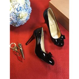 Wholesale Stiletto Spikes - Christian Red Bottoms Shoes Luxury Brand Black Genuine Leather 2017Louboutin Bow Tie Heels Spikes Flat Casual Shoes Party Dress Shoes