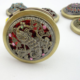 Wholesale Butterfly Mirror Compacts - Pocket Retro Vintage Style Butterfly flower Peacock Makeup Cosmetic Pocket Compact Stainless Mirror