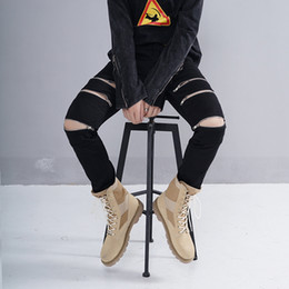 Wholesale fit cargo pants - New Mens Ripped Jeans skinny Slim Fit casual Distressed Denim Cargo pants Zipper On The Knee Hip Hop male Jeans