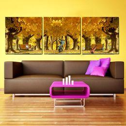 Pintura moderna de bambú online-3 Pieces Modern Painting Art Picture Paint on Canvas Prints tree Silla de playa para bicicletas Violin flower tulips orange Blue rose Bamboo Lotus peony