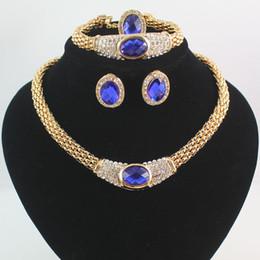 Newfashion женщины 18K позолоченный Кристалл Сапфир свадьба ожерелье серьги браслет кольцо ювелирные наборы от