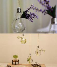 Discount design house flowers - 8*14CM Clear Flower Pots Planters Home Decor Glass Vases Hanging Bulb Vase Decorative Design Flower Vases Wedding Decorative Vase