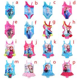 Wholesale Girls Cartoon Swimwear - 2016 New Arrival Summer Frozen Swimwear Elsa Children Girls Lovely Kids Fashion Swimsuit Swimming Cartoon Swimwear A-0030
