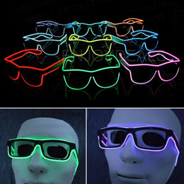 Wholesale El Glow Neon Light - Simple el glasses El Wire Fashion Neon LED Light Up Shutter Shaped Glow Sun Glasses Rave Costume Party DJ Bright SunGlasses