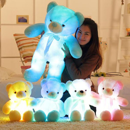 Wholesale Wholesale Halloween Lights - 30cm 50cm Colorful Glowing Teddy Bear Luminous Plush Toys Kawaii Light Up LED Teddy Bear Stuffed Doll Kids Christmas Toys CCA8079 30pcs