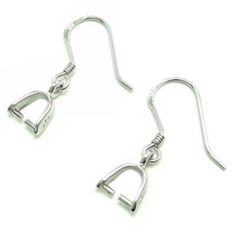 Wholesale Sterling Silver Hook Earrings - Earring Finding pins bails 925 sterling silver earring blanks with bails diy earring converter french ear wires 18mm 20mm CF013 5pairs lot