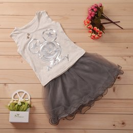 Wholesale Korean Clothes Sizing For Kids - Clothing Set For 2015 Summer New Korean Mickey Pure cotton Two-piece Skirts Suit For Girls 100-140 Size 2-7 Age Kids G47