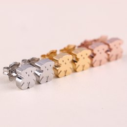 Wholesale Silver Panda Wholesale - Wholesale 5 pairs Hot Panda Style stud Earring Gold Silver High quality no fade Brand Jewelry Original Design Europe Style El oso pendientes