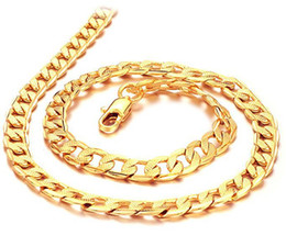 Wholesale Width 7mm - Wholesale - real fine 24k gold filled necklace length : 50cm, width : 7mm, Weight : 24g, free shipping
