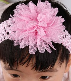 Wholesale Tulle Crochet Tops Wholesale - 10pcs Top Baby Crochet Headbands With Mesh Tulle Flower Elastic Hairbands Children Hair Accessories Girl Christmas Hair band Headwear