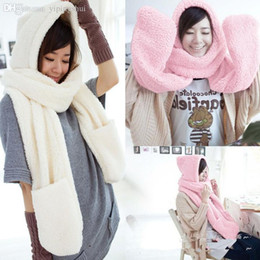 Wholesale Womens Scarf Gloves Set - Wholesale-Fashion Womens Winter Warm Hat Gloves Scarf Multi-Function Adorable Lamb Plush Thicken Elegant Casual Cap 2 Colors