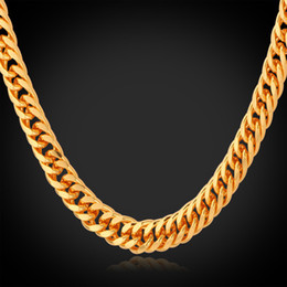 "Wholesale Gold Cuban Chain Stamped - Wholesale-Gold Chain Necklace Men 18K Stamp 18K Real Gold Plated 6MM 55CM 22"" Necklaces Classic Curb Cuban Chain Hip Hop Men Jewelry"