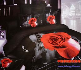 Wholesale Duvet Cover Music Notes - Wholesale-3D Red rose black music note bedding set queen size comforter duvet cover bed sheet quilt bedclothes bedspread bedsheet cotton