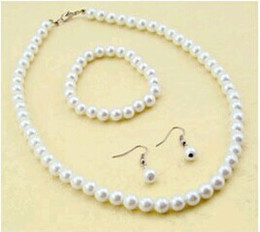 Wholesale Pearls Disco Balls - High Quality Cream Glass Pearl and Disco Rhinestone Ball Women Bridal Necklace Bracelet and Earrings Wedding Jewelry Sets Bridal Accessories