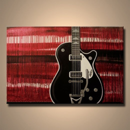 Wholesale Music Paintings Canvas - High Quality Hand painted Modern Abstract music guitar Oil Painting on Canvas Art decorative pictures on wall for living room