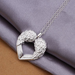 Wholesale Ladies Necklaces Free Shipping - Pretty silver jewellery Free shipping Silver plated weddingfashion jewelry charm Heart Ladies Angel cute PENDANT necklace N357