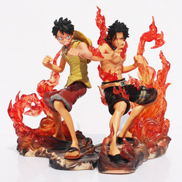 Wholesale One Piece Brotherhood - 2pcs set 15cm One Piece DX Luffy Ace Brotherhood Anime Cartoon 2 Years Later PVC Action Figure Toys Cartoon Battle Ver Model Dolls