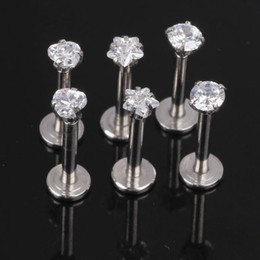 Wholesale Gem Monroe - JK Silver Labret Lip Ring Zircon Anodized Internally Threaded Prong Gem Labret Monroe 16G Tragus Ear Tragus Piercing