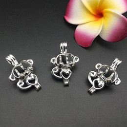 Wholesale Pearl Cages Jewelry - 10pcs monkey oil diffuser jewelry production provides silver-plated pearl cage pendants - plus your own pearls make it more attractive