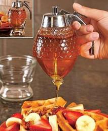 Wholesale Portable Kitchen Storage - Honey Dispenser Jar Container Juice Syrup Kettle Kitchen Bee Drip Stand Holder Portable Acrylic Storage Pot