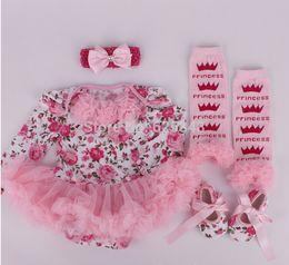 Wholesale Tutu Head - Wholesale-2015 autumn christmas clothes floral newborn baby romper with tutu dress +head band+shoes+leggings 4pcs set baby clothing set