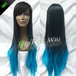 Wholesale Beautiful Queen Hair - Queen Style Synthetic Black root ombre to blue color 80cm long straight hair wig, unique beautiful wigs for white women